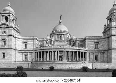 Victoria Memorial. Kolkatta, India black and white