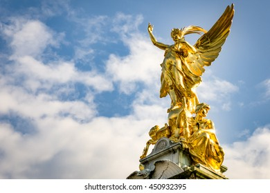 The Victoria Memorial is a monument to Queen Victoria, located at the end of The Mall in London right outside the gates of Buckingham Palace. It depicts a gilded bronze Winged Victory