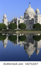 Victoria Memorial with reflection, one of the famous Historical Monument of Indian Architecture. It was built between 1906 and 1921 to commemorate Queen Victoria's 25 years reign in India, Kolkata.
