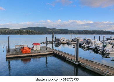 Victoria, ?anada - October 11, 2016: Small Harbor near Victoria on Vancouver Island in the morning