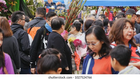 Victoria Park, Hong Kong 14 February 2018:- Hong Kong Lunar new year fair in Victoria park, traditional Chinese market