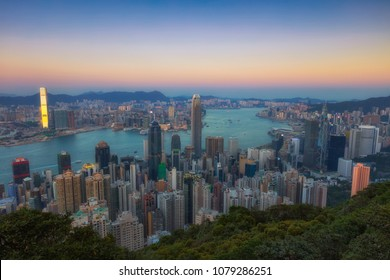 victoria peak , Hong Kong - January 11 2018, Twilight view of skyscrapers from the Peak, landmark of Hong Kong