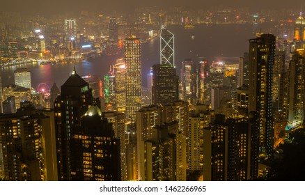 Victoria Peak, Hong Kong - Oct' 24th 2018 Night at the Victoria Peak in Hong Kong , this stunning viewpoint will blow your mind with its iconic skyscrapers and the harbor below.