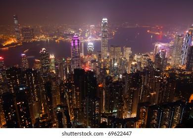 Victoria Peak At Night, Hong Kong