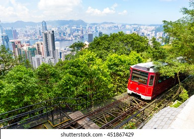 The Victoria Peak Tram and Hong Kong city skyline