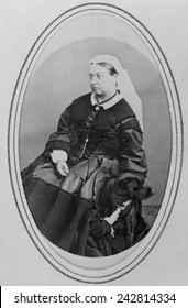 Victoria, Queen of England (1819-1901), in widows mourning clothes three years after the death of he husband, Prince Albert. April 3, 1866.