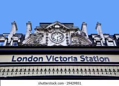 Victoria Railway / Bus station sign, London, UK