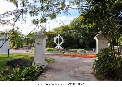 VICTORIA, SEYCHELLES - SEPTEMBER 6 2017: Buildings and streets of Victoria, the capital city of Seychelles. Mahe island. East Africa