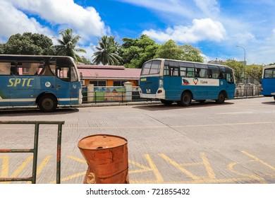 VICTORIA, SEYCHELLES - SEPTEMBER 6 2017: Victoria city main bus station. The capital city of Seychelles. Mahe island. East Africa