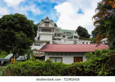 VICTORIA, SEYCHELLES - SEPTEMBER 6 2017: Pascal village in Seychelles near Beau Vallon bay. Mahe island. East Africa