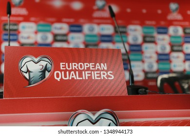 Victoria Stadium, Gibraltar - March 22nd 2019: Euro 2020 Qualifier placard during the Gibraltar press conference ahead of the Euro 2020 Qualifier against Republic of Ireland.