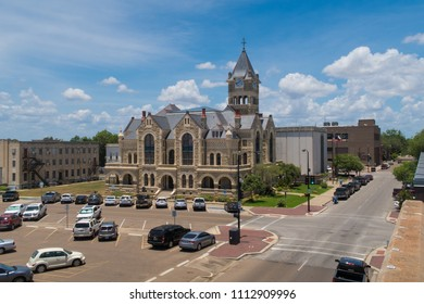 VICTORIA, TEXAS - JUNE 7 2018: view of the Victoria County Texas courthouse from a parking garage