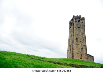 Victoria tower, Castle Hill in the cloudy sky in Huddersfield England
