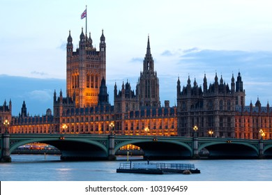 Victoria Tower at House of Parliament and City of Westminster London England UK in The Evening