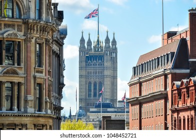 Victoria tower of Westminster palace seen from Trafalgar square, London, UK