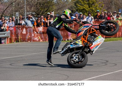 VICTORIA/AUSTRALIA - 13 SEPTEMBER 2015: Stunt motorcycle rider performing at a local car show on the 13 September 2015 in Corowa.