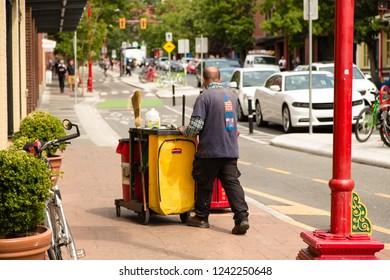 Victoria/British Columbia/Canada - Jun 06 2018: Partial View worker on Pandora Ave