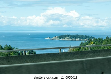 Victoria/British Columbia/Canada - Jun 09 2018: View of the ocean being in Lion Bay Ave
