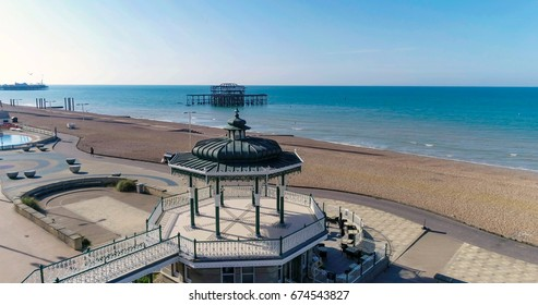 The Victorian bandstand and the ruin of the West pier in Brighton and Hove