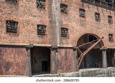 Victorian brick tobacco warehouse at Stanley Dock, Liverpool.