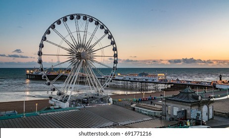 The Victorian Brighton Pier and the Brighton wheel at sunset