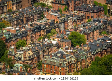 The Victorian brownstones of Boston's Back Bay from above
