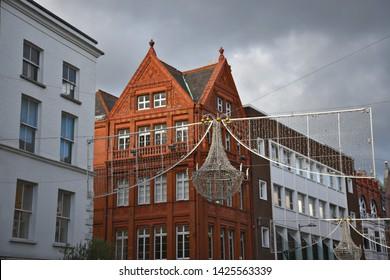 Victorian buildings and lights in Grafton street, Dublin City Center, Ireland.
