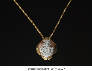Victorian cameo isolated on black background