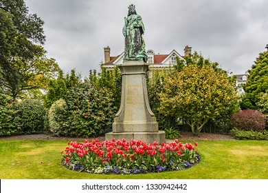 Victorian Candie Gardens in St Peter Port, Guernsey. Candie Gardens - example of a late XIX century public flower garden. Guernsey - British Crown dependency in English Channel off coast of Normandy.