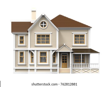 victorian cartoon family house, front view, isolated on white. 3d illustration
