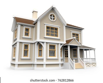 victorian cartoon family house isolated on white. 3d illustration