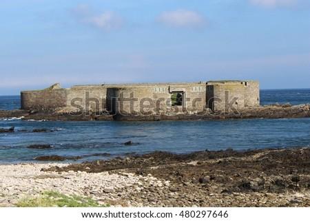 victorian fortress sea alderney british channel stock photo edit