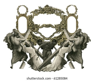 Victorian frame with Jesus Christ enfeebled by the weight of the cross.