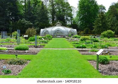 Victorian greenhouse in herb garden of National Garden in Meise, Belgium