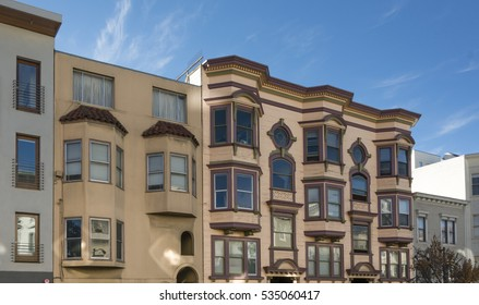 Victorian houses in a row in San Francisco