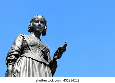 Victorian memorial statue of Florence Nightingale 1820-1910 an English nurse known as the Lady With The lamp, who cared for wounded soldiers in the Crimean War