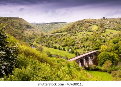 The Victorian Midland Railway Headstone Viaduct, now part of the Monsal Trail cycleway, in Monsal Dale in England's Peak District National Park.