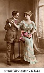 Victorian romance - couple in love - circa 1915 photograph