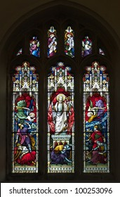 Victorian stained glass window picturing the resurrection of Christ