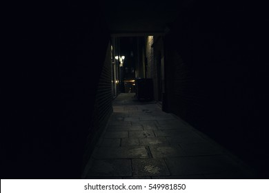 Victorian Street with Victorian street lights, one of the murder places of Jack the Ripper