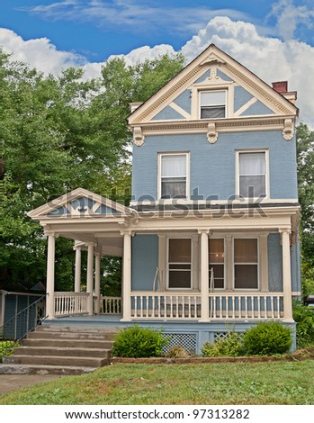 Victorian Style Brick Home Painted Blue Stock Photo Edit Now - How-to-paint-a-victorian-style-home