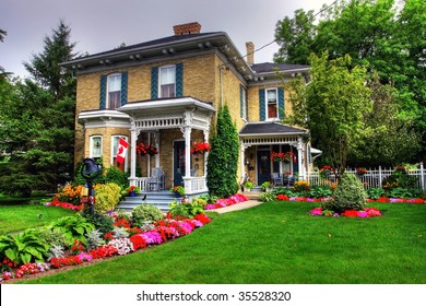 Victorian style cottage and garden in Goderich, Canada