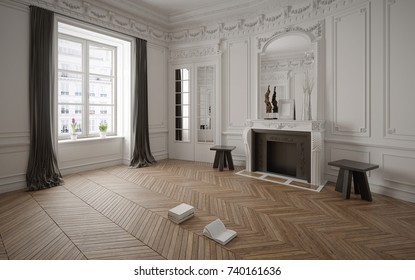 Victorian style empty room with fireplace - 3 d render