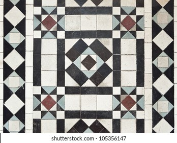 victorian style floor tile pattern with colorful elements