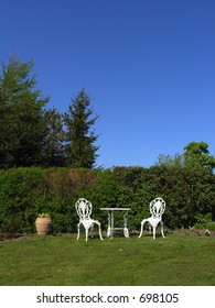 Victorian style garden furniture in natural settings