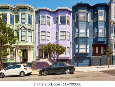 Victorian style homes in Haight-Ashbury neighborhood, San Francisco, California, USA