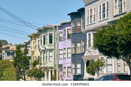 Victorian style homes in Haight-Ashbury neighborhood, San Francisco, California, USA