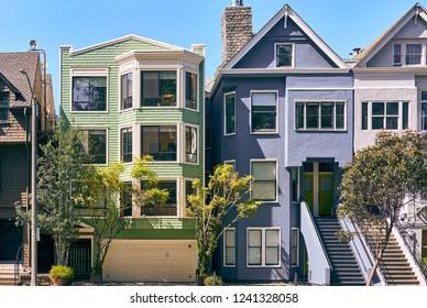 Victorian style homes in San Francisco, California, USA