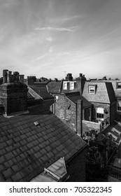 Victorian terrace house roofs in Battersea, Wandsworth, London