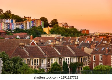 Victorian terraced houses and apartments in background  many of which are painted in bright colours, Bristol, UK
